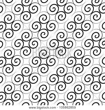 Latticed pattern with curls. Seamless diagonal texture. Vector art.