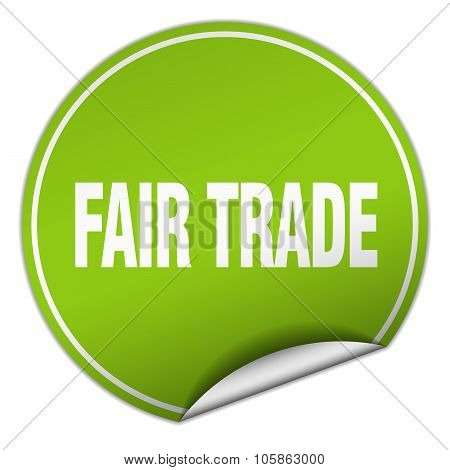 Fair Trade Round Green Sticker Isolated On White