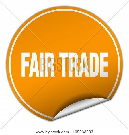 Fair Trade Round Orange Sticker Isolated On White