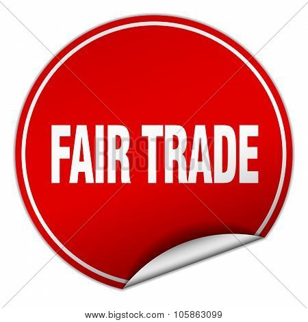 Fair Trade Round Red Sticker Isolated On White