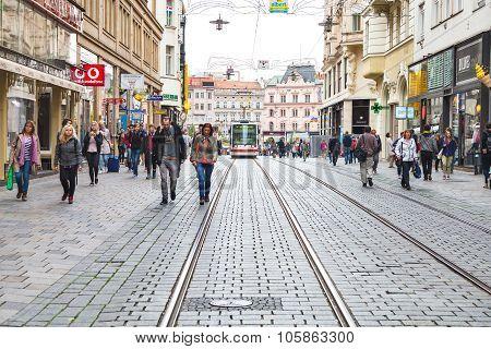 People On Masarykova Street In Brno City