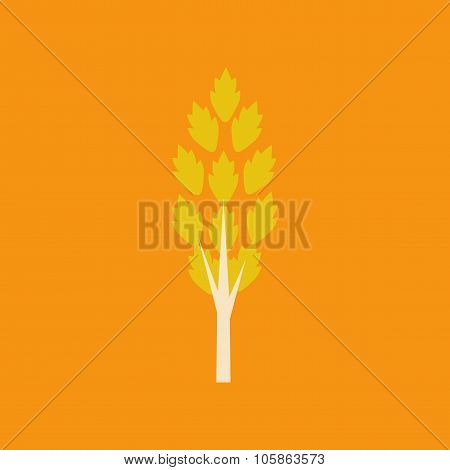 Flat with shadow icon and mobile application tree leaves