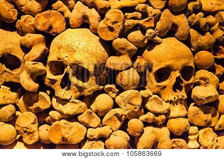 Skulls In Ossuary Of St James Church In Brno