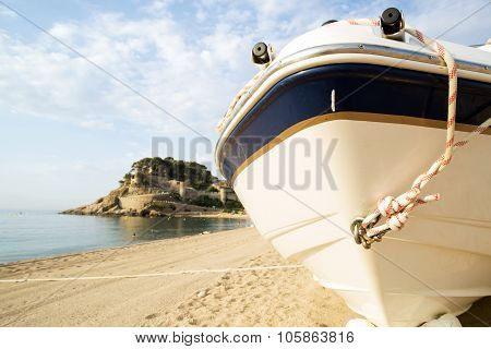 Fragment Of Motor Boat On The Empty Sand Shore Sunny Day.