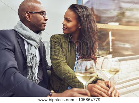 Black Couple Having A Conversation