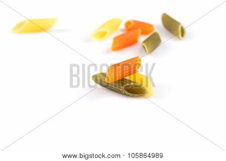 Raw Colored Pasta Isolated On White Background