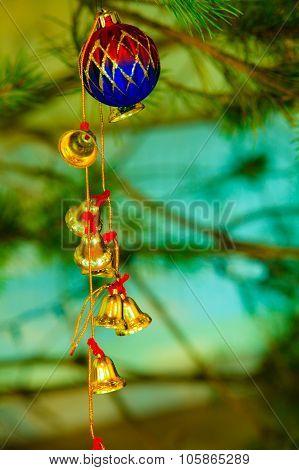 Closeup Of Little Bells Christmas Tree Ornament.