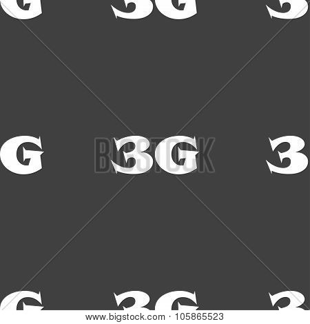 3G Sign Icon. Mobile Telecommunications Technology Symbol. Seamless Pattern On A Gray Background.