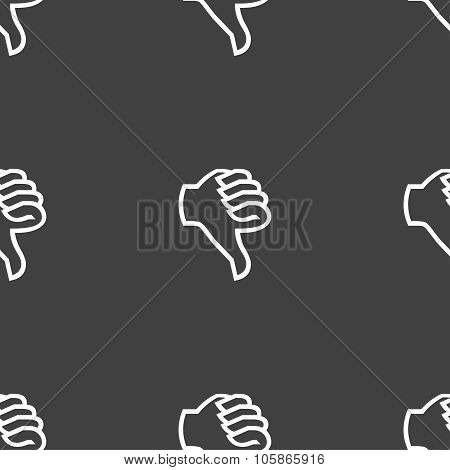 Dislike Sign Icon. Thumb Down. Hand Finger Down Symbol. Seamless Pattern On A Gray Background.