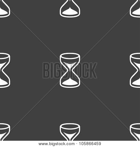 Hourglass Sign Icon. Sand Timer Symbol. Seamless Pattern On A Gray Background.