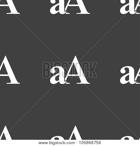 Enlarge Font, Aa Icon Sign. Seamless Pattern On A Gray Background.