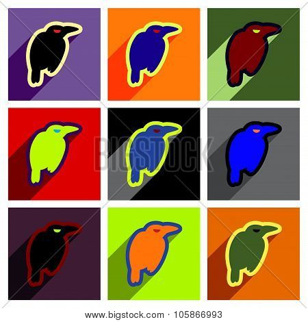 Flat with shadow concept Icon crows bright background