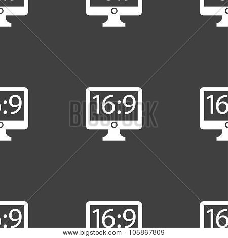 Aspect Ratio 16 9 Widescreen Tv Icon Sign. Seamless Pattern On A Gray Background.