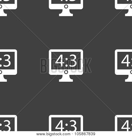 Aspect Ratio 4 3 Widescreen Tv Icon Sign. Seamless Pattern On A Gray Background.