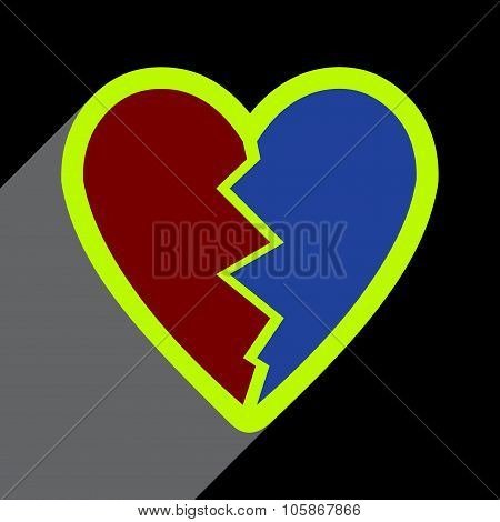 Flat with shadow Icon Heart broken pieces on colored background
