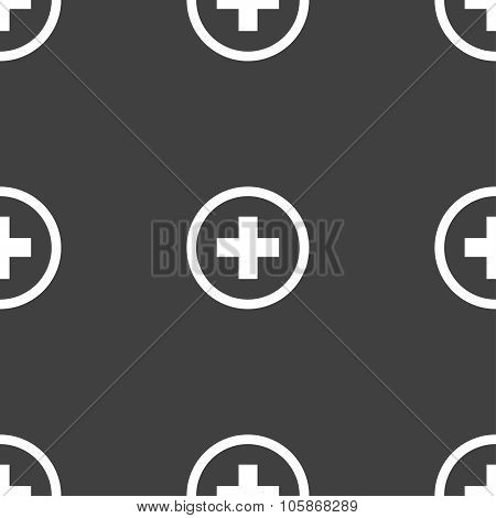 Plus, Positive, Zoom Icon Sign. Seamless Pattern On A Gray Background.