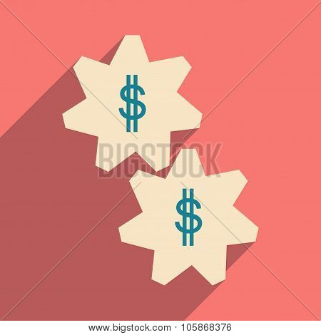 Flat with shadow icon gears and dollar