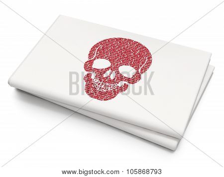 Health concept: Scull on Blank Newspaper background