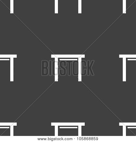 Stool Seat Icon Sign. Seamless Pattern On A Gray Background.