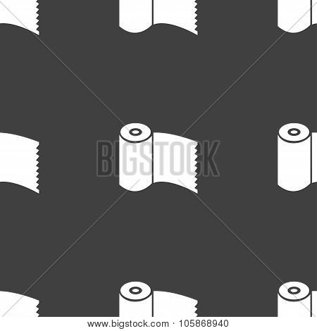 Toilet Paper, Wc Roll Icon Sign. Seamless Pattern On A Gray Background.