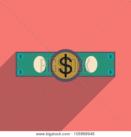 Flat with shadow icon Stylish dollar bill