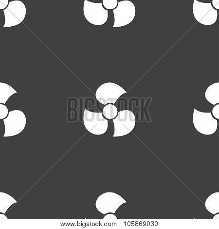Fans, Propeller Icon Sign. Seamless Pattern On A Gray Background.