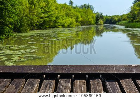 Wooden Platform Is In Nature View.