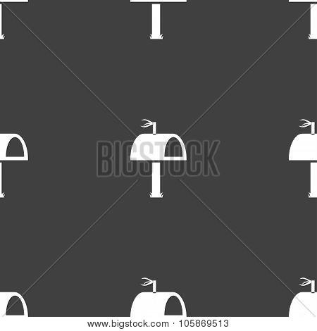 Mailbox Icon Sign. Seamless Pattern On A Gray Background.