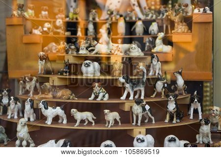 Decorative Ceramic Dog In The Shop Window, Tenerife