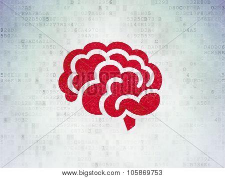 Medicine concept: Brain on Digital Paper background