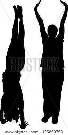two woman body silhouette vector