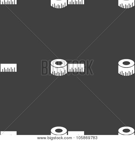Roulette Construction Icon Sign. Seamless Pattern On A Gray Background.