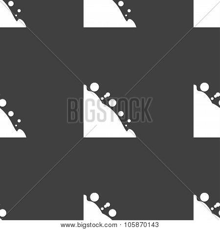 Rockfall Icon. Seamless Pattern On A Gray