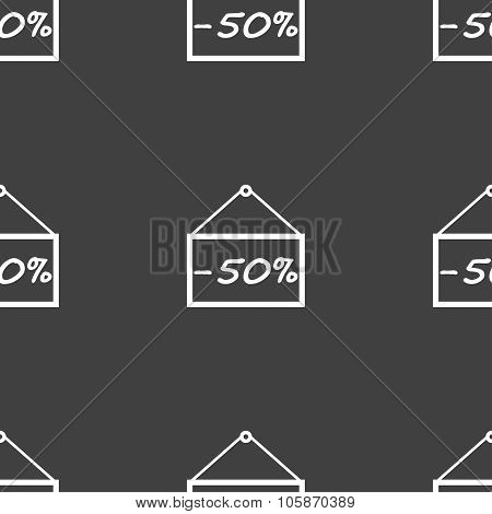 50 Discount Icon Sign. Seamless Pattern On A Gray Background.