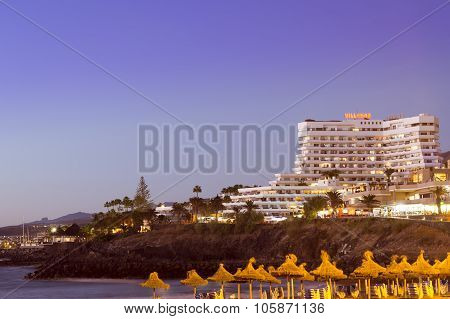 Villamar Apartments. Sunset On The Coast At The Playa De Las Americas, Tenerife