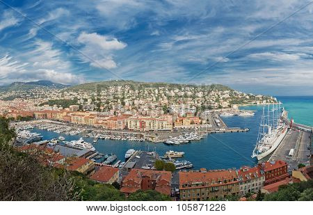 Panoramic view of Nice, Cote d'Azur, France