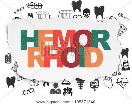 Health concept: Hemorrhoid on Torn Paper background