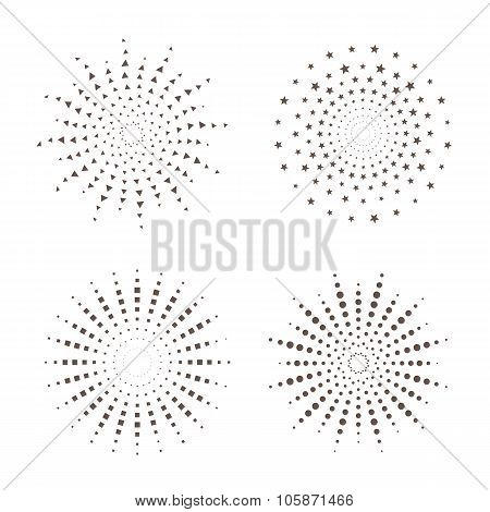 Starburst fireworks shapes