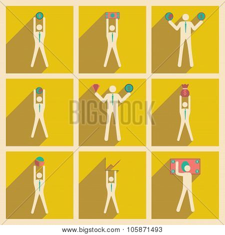 Modern flat icons vector collection Stick Figure business money