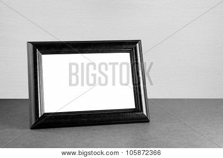 Vintage Photo Frame On Table In Black And White