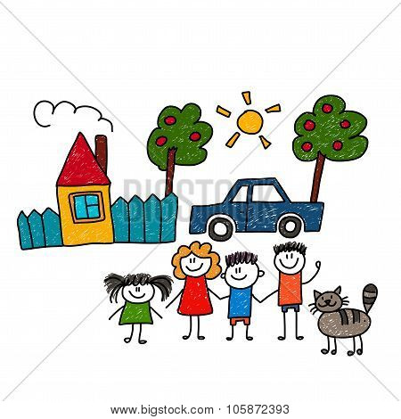 Happy family. Vector illustration