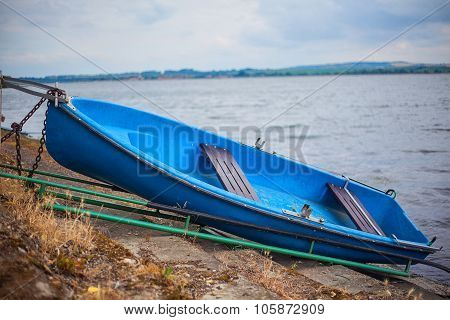 Romantic Old Boat On Shore