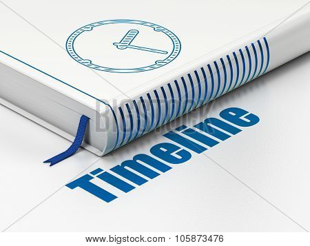Time concept: book Clock, Timeline on white background