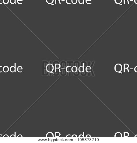 r-code Sign Icon. Scan Code Symbol. Seamless Pattern On A Gray Background. Vector