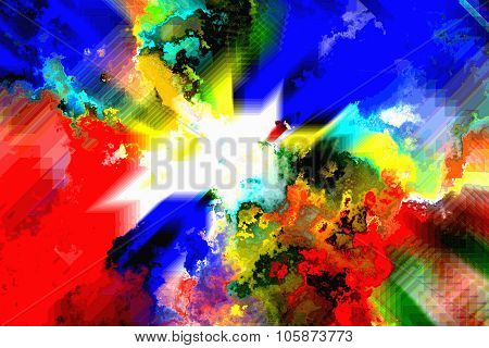 Colorful Background With Cubic And Flux Effect And White Center