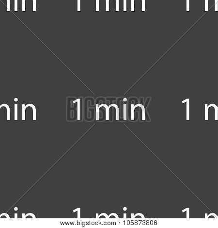 ne Minutes Sign Icon. Seamless Pattern On A Gray Background. Vector