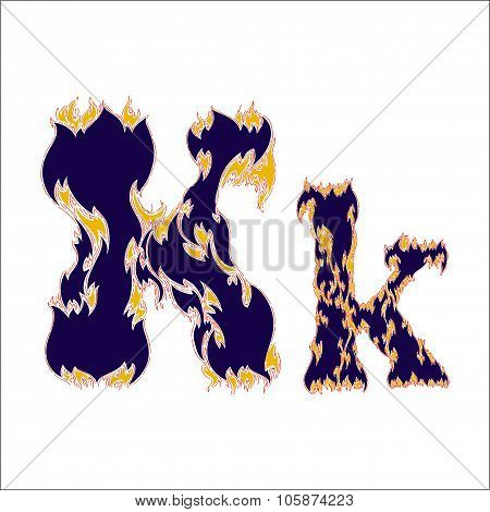 fiery font blue letter K on a white background