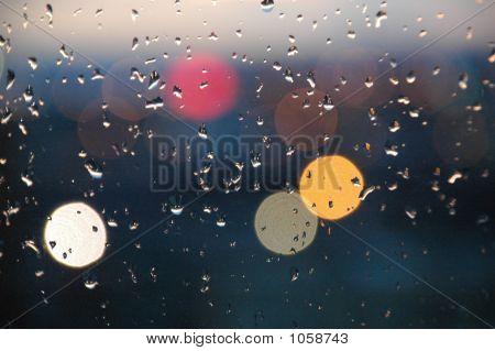 City Lights On Rainy Day