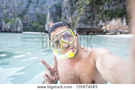 Man Diving And Having Fun In Phi Phi Island