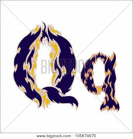 fiery font blue letter Q on a white background